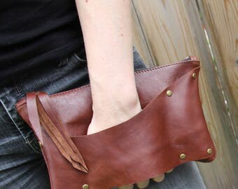 Leather Strap Clutch: Rustic Leather Brown Red Dressy Edgy Punk Purse Small Leather Bag Evening Bag Dress Up