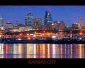 Kansas City Skyline at NIGHT KC Panoramic Print Panorama Photo Poster Picture