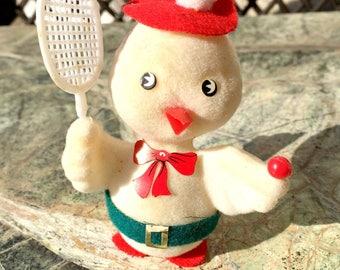 Christmas, Ornament, Duck, Tennis, Vintage, 50s, plastic, kitsch