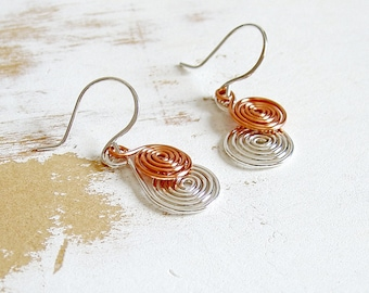 Copper and Silver Spiral Earrings, Copper Wire Jewelry, Metalwork Earrings, Everyday Jewellery, Kinetic Earrings, Minimalist Jewelry