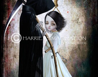 Grim Reaper Art Print - Girl & noose - Gothic Art - The Lengths I'd Go To Be With You
