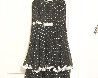 Polka dot black and white sheer alternative upcycled layered ruffle dress small medium