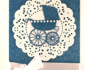 Baby boy card, baby shower, pram, baby carriage, welcome baby, congratulations parents