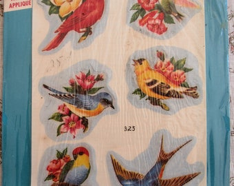 Vintage Vogart Fabric Iron On Appliques 100% Cotton Birds 6 Designs in original package