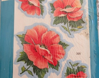 Vintage Vogart Fabric Iron On Appliques 100% Cotton Pink Floral Poppies