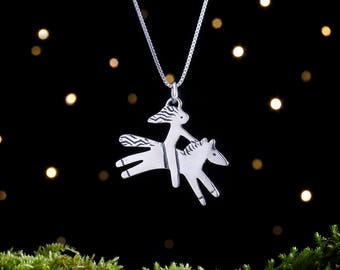 Sterling Silver Horse and Rider- Double Sided - Large - (Pendant or Necklace)