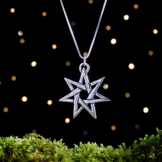 Sterling Silver Fairy Star Heptagram Pendant - (Pendant or Necklace)