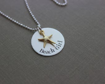 Beach Girl Necklace, Silver and Gold, Sterling silver disc hand stamped  with Gold vermeil starfish, Beach Jewelry, Mixed metal necklace