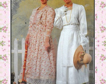 EDWARIAN GARDEN PARTY Frocks-Historical Sewing Pattern-2 Styles-Pin-Tucks-Lace Trim-Attached Apron Panel-Bodice Insert-Uncut-Size 10-14-Rare