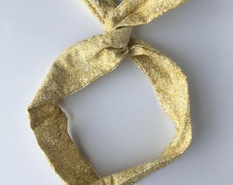 Gold Headband, Hidden wire headband, dolly bow, Hair band, head scarf, gold foil hair bow, girl hair accessory, beige bow, wire hair wrap