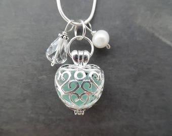 Heart Sea Glass Locket Necklace Aqua Blue Jewelry Seaglass