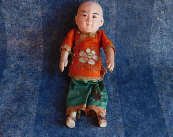 Vintage Chinese Composition Child Doll - 1920s Boy Doll in Embroidered Silk Clothes - Stuffed Cloth Body - Hand Painted Face - Distressed