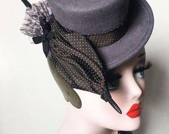 Grey mini top hat with handmade umbrella, polka dots, mini hat, burlesque, lace