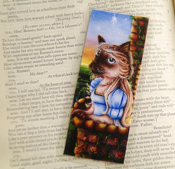 Siamese Cat Bookmark, Romeo and Juliet Shakespeare Fantasy Cat Art Bookmark