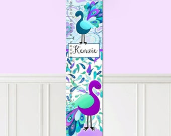 Canvas GROWTH CHART Pretty Purple Peacock Girls Bedroom Baby Nursery Wall Art GC0165