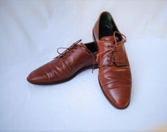 90s Cognac Brown Leather Oxfords Size 8.5 Joan and David Italy Lace Up Oxford Flats