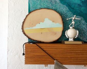 Artifacts of Joy - Cloud Artifact - Painting on Wood - Wood slice - Abstract art