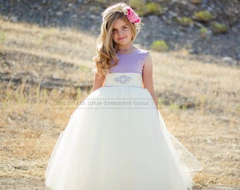 NEW! The Juliet Dress in Dusty Lavender and Light Ivory with Rhinestone Sash - Flower Girl Tutu Dress