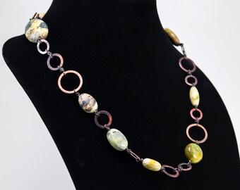 Machine-inspired Copper and Jasper Necklace
