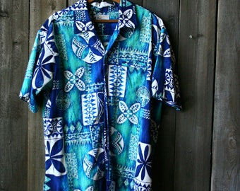 1950s Hawaiian Shirt /Island Wear /Surfrider/ Mid Century Fashion/ Geometric Pattern/ Vintage From Nowvintage on Etsy