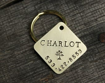 Large dog ID tag - Personalized handstamped diamond square
