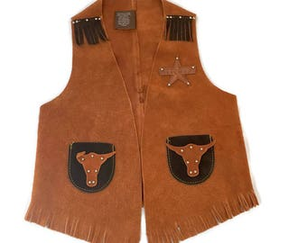 Vintage John R Craighead CHILD'S Large Suede Leather Fringed Western VEST Cowboy Cowgirl USA