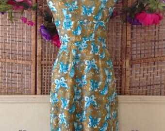 Vintage 60's Cotton Butterfly Shift Wiggle Dress