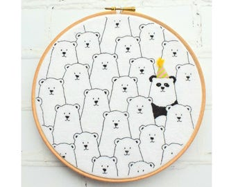 Party Panda Hoop Hand Embroidery Pattern pdf instant download