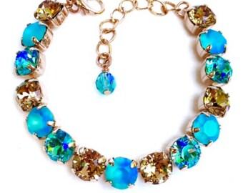 Swarovski Crystal Bracelet Rose Gold Finish 39ss Chaton Stones, Rhinestone Tennis Bracelet, Lt Colorado Topaz Lt Turquoise Mix