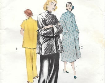 Butterick 6377 1950s Mandarin Type Details Pajamas and Robe Vintage Sewing Pattern Size 14 Bust 32