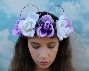 HALO style purple and white Mickey Ears   Mickey Ears   Headband   Floral Mickey Ears   Flower Crown   Wire Mickey Ears   Ready to Ship