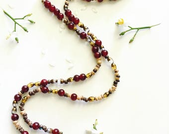 Red Glass and Wood Beaded Necklace