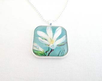 flower necklace, postage stamp necklace, blossom, white and teal, 1971 postage stamp pendant, imperfect discounted