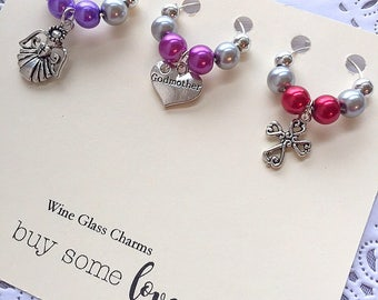 Wine glass charms, wine glass marker, Godmother gift, cross wine marker, angel wine marker. SET of THREE (3).