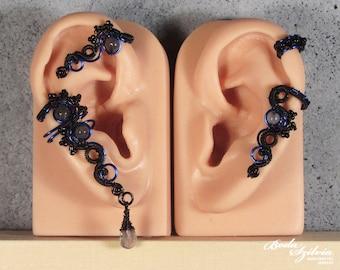 Labradorite EAR WRAP and matching ear cuff SET - gothic black and blue ear wrap -gemstone ear cuff - no piercing ear cuff - gothic jewelry