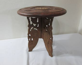 Carved Wood Stool 12 Inch Table Plant Stand Made in India