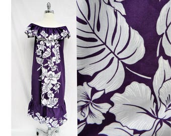 Vintage purple and white off the shoulder ruffle Hawaiian dress Helena's label