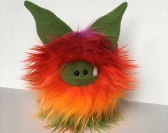 Rainbow Monster Doll - Stuffed Monster - Monster Plushie - Cuddly Boy Monster - Soft Toy Plush Monster - Fuzzling - Handmade Monster Softie