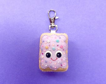 Pop Tart Keychain - Cute Bag Charm - Cute Keychain  - Toaster Pastry Charm - Kawaii Plush -  Bag Charm - Cute Bag Charms