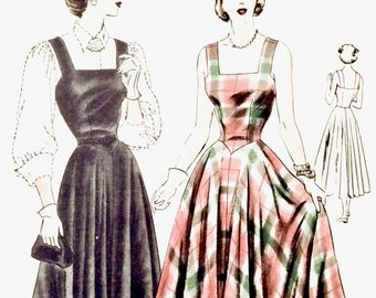 Uncut Vogue 6245  50s One-Piece Dress Sun Dress Circular Skirt Square Neckline  Vintage Sewing Pattern  Bust 38 inches