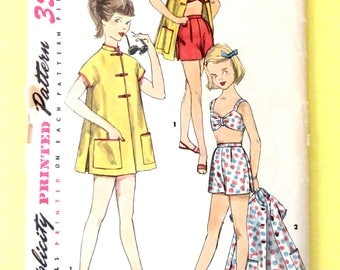 1950s Girls' Summer Separates Simplicity 1632 Girls Top, Shorts and Coat Vintage Sewing Pattern
