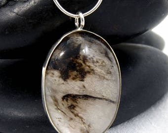 Black Moss Agate Jewelry, Black Moss Agate Necklace, Moss Agate Gemstone Necklace