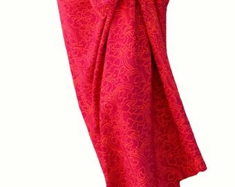 Beach Sarong Women's Clothing Long Skirt Batik Pareo - Raspberry Pink & Orange Sarong Wrap Skirt or Dress - Summer Beach Skirt - Swimwear