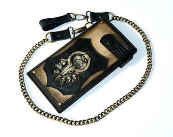 Mens wallet Leather wallet men Satan Chain wallet Long wallet Biker wallet Leather wallet chain Baphomet Biker wallet chain Men wallet chain