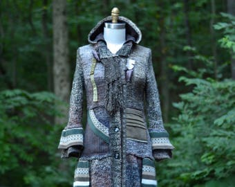 LAGENLOOK patchwork Coat/Duster/Tunic, OOAK Military refashioned, modern up cycled sweaters, unique layering clothing in size Medium/Large
