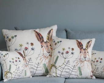 Hare Cushion by Jo Hill Textiles - soft throw pillow