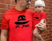 2 | Father Son Matching Shirts | Dr. Jones Short Round | Fathers Day Gift | New Baby | Father's Day | top smalls Daddy and Me gun FREE S&H!