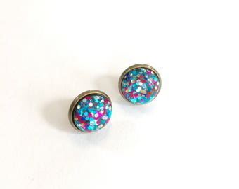 Glitter stud earrings. Hot pink and teal earrings. Glittery earrings. Glitter resin stud earrings. Party accessories. Gifts under 10.