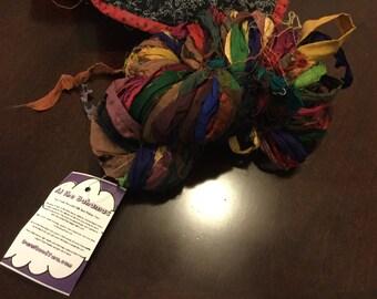 Fair trade recycled silk sari ribbon yarn