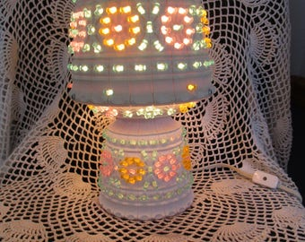 Kitschy  1970's Table Lamp Handmade Working Retro Light  One of a Kind !!!